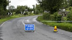 Trouble: PSNI road block in Co Fermanagh, 3km from the scene