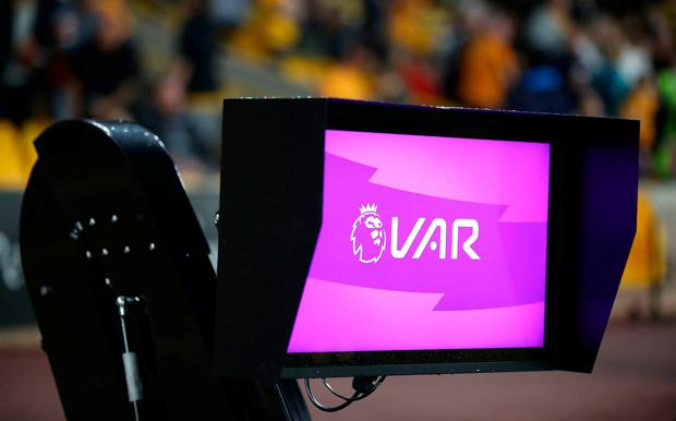 A view of the VAR system pitch side. Photo: Nick Potts/PA Wire