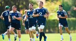 CJ Stander and team-mates are pictured during Ireland rugby squad training at The Campus in Quinta do Lago, Faro, Portugal. Photo: Ramsey Cardy/Sportsfile