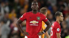 Paul Pogba missed a penalty against Wolves on Monday and subsequently received abuse online (Nick Potts/PA)