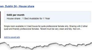 Banned: An advert previously run on Daft.ie seeking a 'professional female only' which the WRC says is discriminatory.