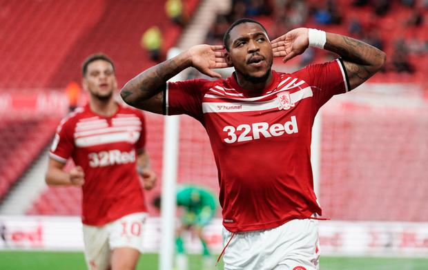 Middlesbrough's Britt Assombalonga celebrates scoring his side's first goal of the game during the Sky Bet Championship match at the Riverside Stadium, Middlesbrough. Owen Humphreys/PA Wire.