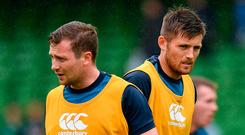 Out-halves Jack Carty and Ross Byrne going through their paces ahead of the recent World Cup warm-up clash with Italy. Photo: Sportsfile