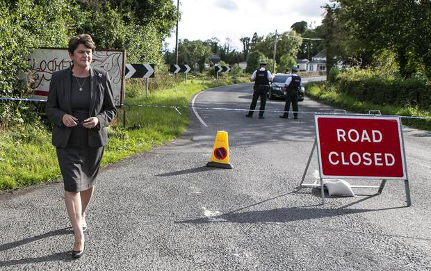 Arlene Foster DUP MLA at a PSNI Road Block at Gortinacarrow Co Fermanagh about Two miles from the scene at Wattle Bridge