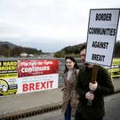 "The prime minister said the UK would agree to a ""legally binding commitment"" not to put in place infrastructure, checks or controls at the Border with Ireland and would hope the EU did the same. Photo: REUTERS"