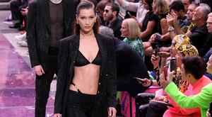 Bella Hadid walks the runway at the Versace fashion show during the Milan Men's Fashion Week Spring/Summer 2020 on June 15, 2019 in Milan, Italy. (Photo by Victor Boyko/Getty Images)
