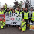 Pictured at a protest outside the ABP Plant at Bandon Co Cork were members of the BEEF Plan movement Cork with Margerat Murphy O'Mahony TD for Cork West who were demanding better prices for beef farmers and intend to hold a week long protests at all ABP cork plants. Picture Denis Boyle