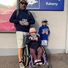 Father Bernanrd Mulvany with his daughter Sophia (9) and son Liam (7) at Raheny station