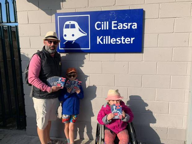 Father Bernanrd Mulvany with his daughter Sophia (9) and son Liam (7) at Killester station