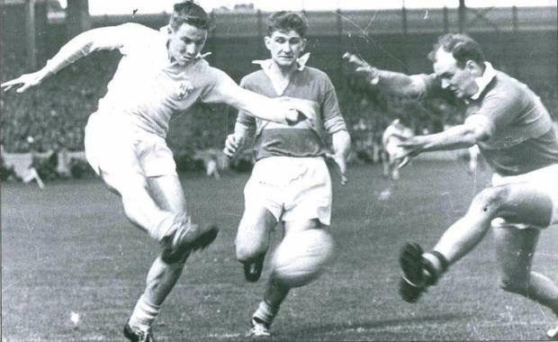 Johnny Joyce in action against Kerry's Mick O'Dwyer and Niall Sheehy