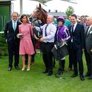 The winning connection sofa Japan ridden by Ryan Moore four left) and trainer Aidan O'Brien (right) before winning The Juddmonte International Stakes during Juddmonte International Day of the Yorkshire Ebor Festival at York Racecourse. Nigel French/PA Wire