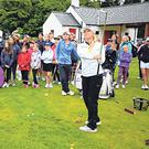 Inspirational: Stephanie Meadow and Leona Maguire show off their short game skills at Galgorm Castle last week. Photo: Golffile