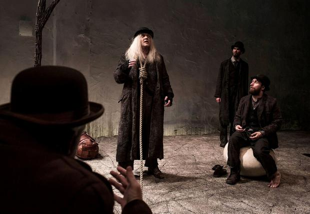 Rory Nolan as Pozzo, Garrett Lombard as Luck, Marty Rea as Estragon and Aaron Monaghan as Estragon in Druids production of Waiting for Godot by Samuel Beckett directed by Garry Hynes
