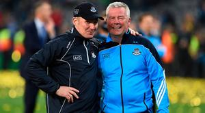 STATS THE WAY: Dublin manager Jim Gavin with statistician Ray Boyne after the All-Ireland SFC final replay win over Mayo in 2016. Photo: Brendan Moran/Sportsfile