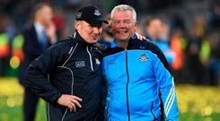 Former Dublin stats analyst Ray Boyne, who is now working with the Tipperary hurlers, with Jim Gavin after the 2016 All-Ireland SFC final. Photo: Brendan Moran/Sportsfile