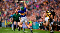 Deep impact: Richie Hogan collides with Cathal Barrett leading to his red card. Photo: Eóin Noonan/Sportsfile