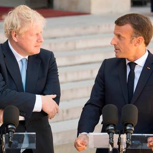UK Prime Minister Boris Johnson with French President Emmanuel Macron at the Elysee Palace in Paris Photo credit: Stefan Rousseau/PA Wire