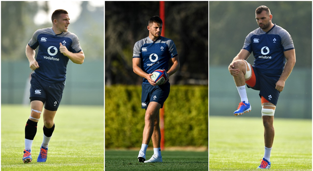 Andrew Conway (left), Ross Byrne (centre) and Tadhg Beirne (right) are all in the Ireland squad to face England at Twickenham.