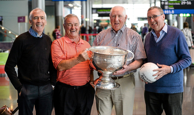 Members of the All-Ireland Football winning Dublin team of 1974, from left, Bobby Doyle, Leslie Deegan, Paddy Cullen and the late Anton O'Toole with the Sam Maguire in attendance at a 40th anniversary reception hosted by the Dublin Airport Authority. Dublin Airport, Dublin. Picture credit: Stephen McCarthy / SPORTSFILE
