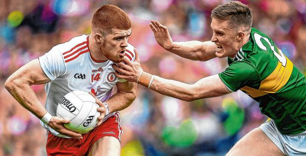 Hands full: Cathal McShane made hay in the first half of the semi-final, but with so much space around him close to goal, and quality ball going in, Jason Foley was always going to be up against it. Photo: Ray McManus/Sportsfile