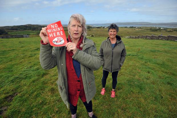 Opposition: Terri Conroy, chairperson Protect Connemara, with committee member and Ellen Nee in Ballyconneely, Co Galway. Picture by Ray Ryan