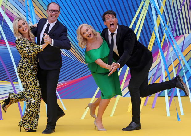 Anna Geary, Brian Redmond, Lorraine Barry and Donncha O'Callaghan at the RTÉ autumn schedule launch yesterday. Picture: Colin Keegan, Collins Dublin