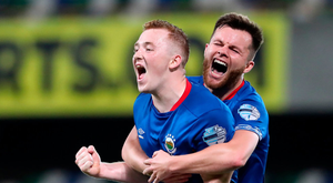 Linfield's Shayne Lavery celebrates scoring his side's third goal during their victory over Qarabag at Windsor Park. Photo: Niall Carson/PA Wire