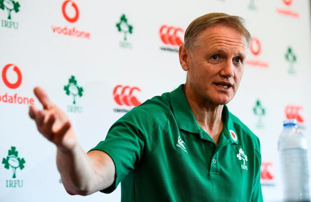 Joe Schmidt during an Ireland Rugby press conference at The Campus in Quinta do Lago in Faro, Portugal. Photo by Ramsey Cardy/Sportsfile