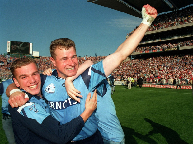 17 September 1995, Dublin's Charlie Redmond, who was earlier sent off in the game, celebrates victory over Tyrone after the final whistle in the 1995 All Ireland Final, Dublin V Tyrone, Croke Park. Picture Credit: Ray McManus/SPORTSFILE