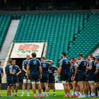 The Ireland squad receive instructions from strength and conditioning coach Jason Cowman during the Ireland Rugby captain's run at Twickenham Stadium in London, England. Photo: Ramsey Cardy/Sportsfile