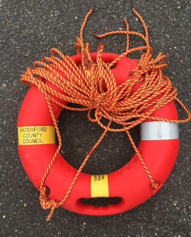 If the ringbouy was thrown to someone in need, the severed ropes would mean that they could not be pulled ashore. Photo: Nicky Hannigan