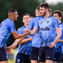 Yoyo Mahdy, left, of UCD celebrates after scoring his side's first goal with team-mates during the Extra.ie FAI Cup Second Round match between UCD and St Patrick's Athletic at The UCD Bowl in Dublin. Photo: Ben McShane/Sportsfile