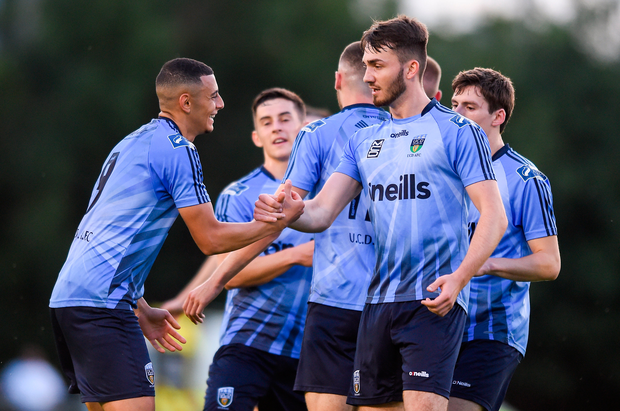 Yoyo Mahdy, left, of UCD celebrates after scoring his side's first goal with team-mates during the FAI Cup second round win over St Patrick's Athletic at The UCD Bowl in Dublin. Photo: Ben McShane/Sportsfile
