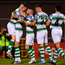 Gary O'Neill of Shamrock Rovers, left, is congratulated by team-mates after scoring his side's first goal during the FAI Cup second round win over Drogheda United at Tallaght Stadium in Dublin. Photo by Seb Daly/Sportsfile