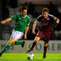 Conor Melody of Galway United in action against Conor McCarthy of Cork City during the FAI Cup second round clash at Eamonn Deacy Park in Galway. Photo by Eóin Noonan/Sportsfile