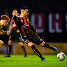 Daniel Mandroiu of Bohemians in action against Aodh Dervin of Longford Town during the FAI Cup second round match at Dalymount Park in Dublin. Photo by Piaras Ó Mídheach/Sportsfile