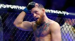 Controversy: Conor McGregor reacts after losing to Khabib Nurmagomedov in his last UFC fight in Las Vegas in October 2018. Photo: AP