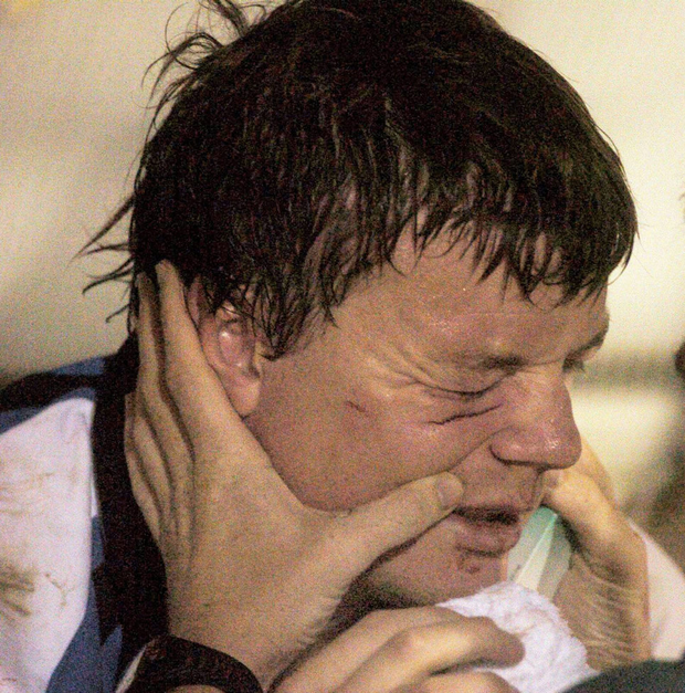Brian O'Driscoll is attended to by medical staff after an off-theball incident against Bayonne during a 2007 World Cup warm-up game. Photo: Pat Murphy/Sportsfile