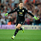 Tom Heaton of Aston Villa celebrates after his team mate Anwar El Ghazi of Aston Villa scored their teams second goal. Photo: Alex Pantling/Getty Images