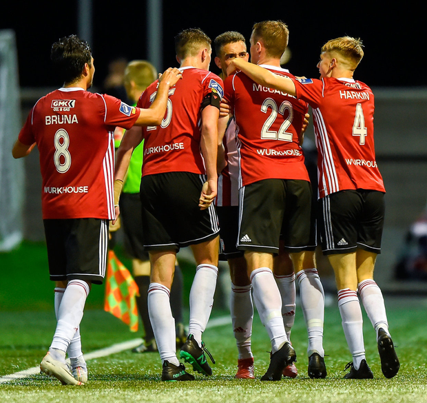 Darren McCauley of Derry City celebrates with his team-mates after scoring the second goal. Photo: Oliver McVeigh/Sportsfile
