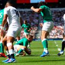 Jordan Lamour of Ireland scores a try during the Quilter International match between England and Ireland at Twickenham Stadium on August 24, 2019 in London, England. (Photo by Warren Little/Getty Images)