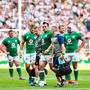 Ireland's Cian Healy leaves the pitch with an injury during the International match against England at Twickenham Stadium in London, England. Photo: Brendan Moran/Sportsfile