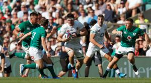 England's Tom Curry takes the game to Ireland in the international warm-up match at Twickenham. Photo: Reuters/Matthew Childs