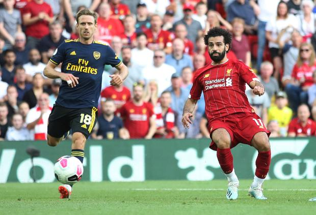 Liverpool's Mohamed Salah scores their third goal in the Premier League win over Arsenal at Anfield. Photo: Reuters/Carl Recine