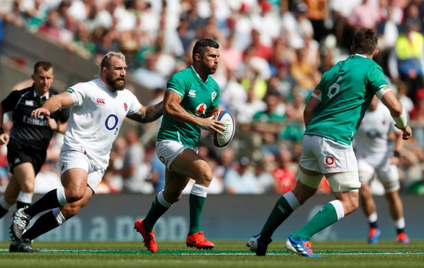 Rugby Ireland's Rob Kearney in action against England's Joe Marler at Twickenham. Photo: Reuters/Matthew Childs