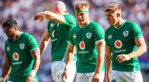 Ireland players, from left, Bundee Aki, Devin Tooner, Josh van der Flier and Garry Ringrose during the World Cup warm-up defeat to England at Twickenham. Photo by Ramsey Cardy/Sportsfile