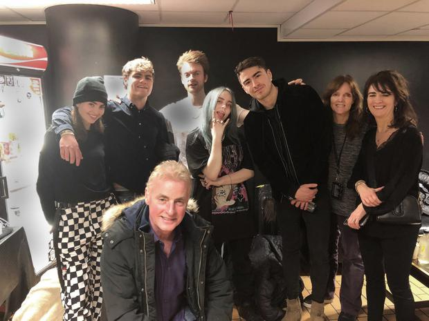 Hayley and Robert Fanning, Dave Fanning, Finneas O'Connell, Billie Eilish, Jack Fanning, Maggie Baird, and Ursula Fanning