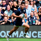 Sean Maitland of Scotland receives the ball in space and charges for the try line during the Summer Test match between Scotland and France at Murrayfield Stadium on August 24, 2019 in Edinburgh, Scotland. Photo: Mark Runnacles/Getty Images