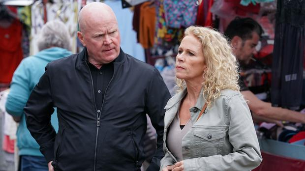 Phil Mitchell and Lisa Fowler argue about where Louise (Jack Barnes/PA)