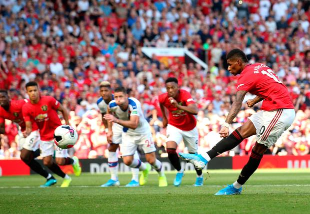 Marcus Rashford of Manchester United misses from the penalty spot. Photo: Jan Kruger/Getty Images